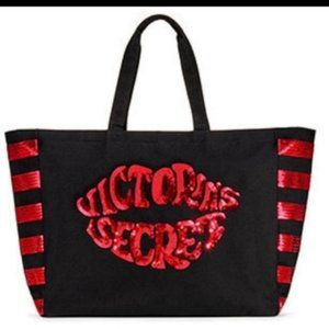 NEW VICTORIA'S SECRET Black Tote Red Sequin Lips